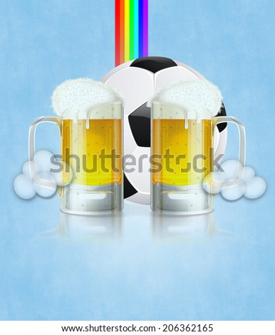 Mug of beer and soccer (football) ball on abstract background.