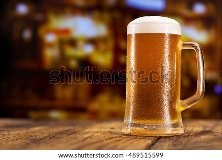 mug of beer in a bar