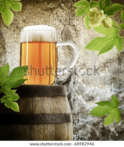 Mug of beer in vintage style - stock photo