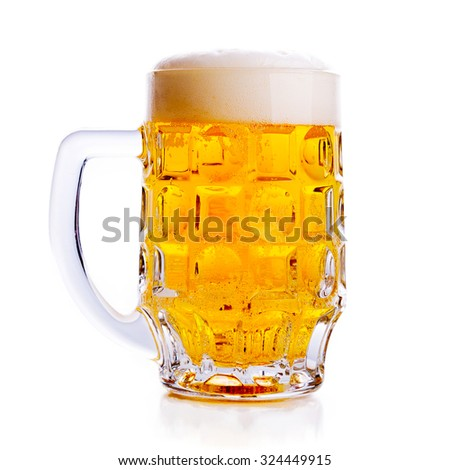 mug of beer isolated on white. - stock photo