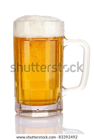 mug of beer isolated on white - stock photo