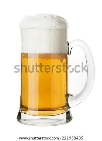 Mug of Beer, isolated on white background - stock photo
