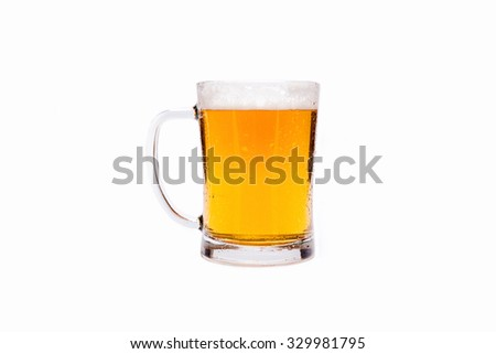mug of beer isolated on white background without end