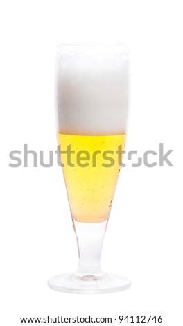 Mug of beer isolated over white background - stock photo