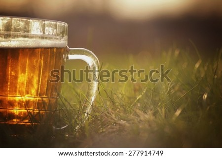 mug of beer on the grass - stock photo