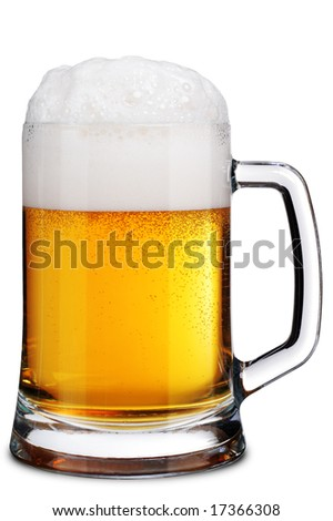 Mug of Beer with Froth. Isolated over White - stock photo