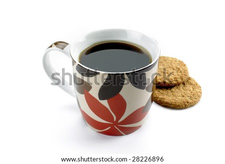 Mug of coffee with biscuits - stock photo