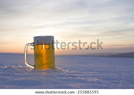 mug of cold beer - stock photo