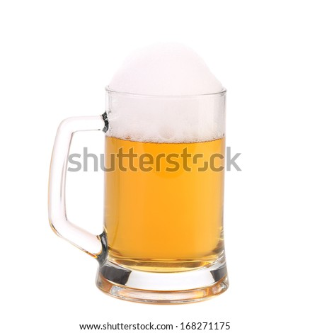 Mug of fresh beer with foam. Isolated on a white background.