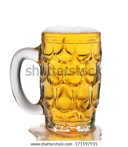 mug of glass with beer isolated on white background