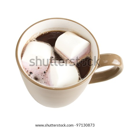 Mug of hot chocolate with marshmallows. Isolated on white.