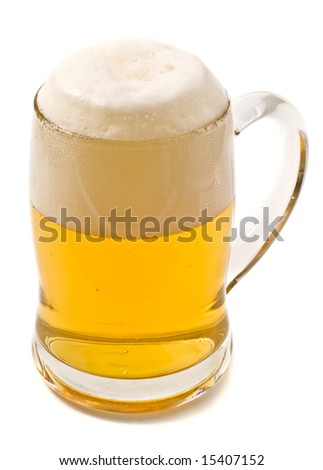 mug of lager beer isolated