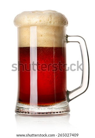 Mug of red beer isolated on a white background - stock photo