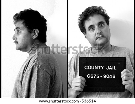 mug shot of middle aged man - stock photo