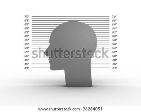 Mug shot on white background. 3D image - stock photo