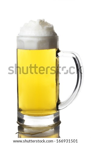 Mug with beer isolated on white. With clipping path