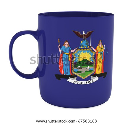 Mug with flag of New York State, isolated on white, with clipping path, 3d illustration