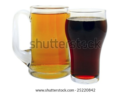 mug with lager and glass with dark beer