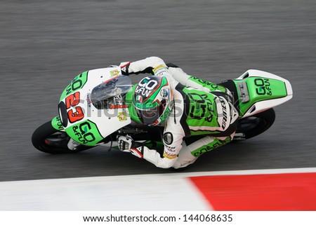 MUGELLO - ITALY, JUNE 1: Italian Honda rider Niccolo Antonelli at 2013 TIM MotoGP of Italy at Mugello circuit on June 1, 2013 - stock photo