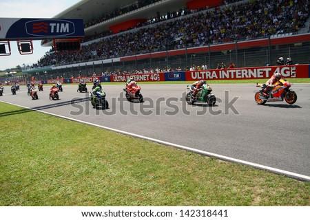MUGELLO - ITALY, JUNE 3: Moto GP start at 2013 TIM MotoGP of Italy at Mugello circuit on June 3, 2013 - stock photo