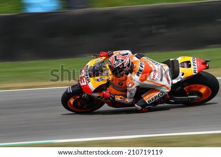 MUGELLO - ITALY, MAY 31: Spanish Honda rider Marc Marquez at 2014 TIM MotoGP of Italy at Mugello circuit on May 31, 2014 - stock photo