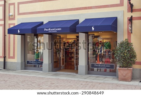 MUGELLO, ITALY - SEPTEMBER 11, 2014: People visit Polo Ralph Lauren children store in McArthurGlen Designer Outlet Barberino. Ralph Lauren was founded in 1967 and headquartered in New York City.  - stock photo