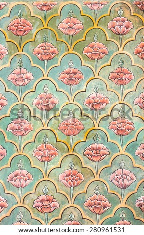 Mughal wall paintings at Jaipur city palace - Rajasthan, India - stock photo