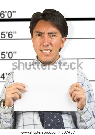 mugshot of an angry prisoner - stock photo