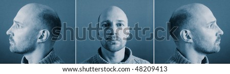 mugshot of criminal from front and side. police identity photograph of bold white male - stock photo