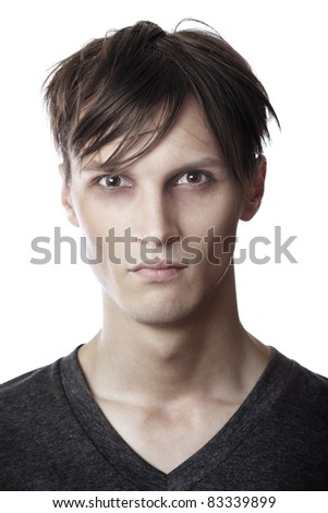 Mugshot of exhausted man on a white background - stock photo