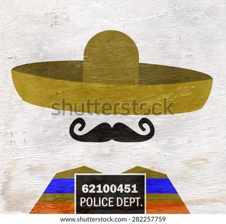 mugshot of man wearing sombrero on wood grain texture - stock photo