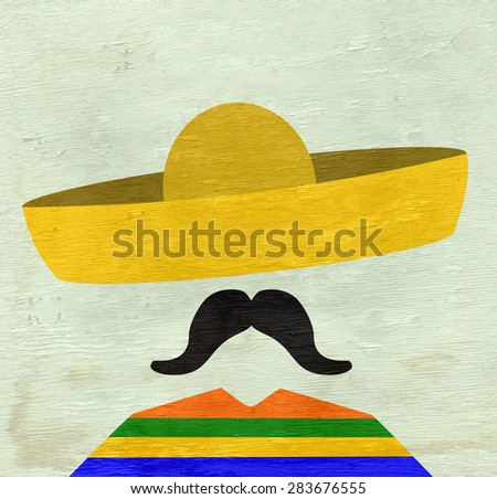 mugshot of man with mustache and sombrero on wood grain texture - stock photo