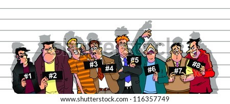 mugshot of suspicious delinquents in police line - stock photo