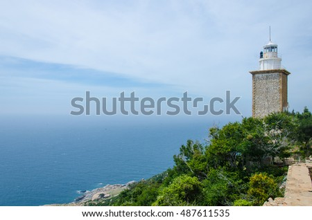 Mui Dinh lighthouse with beautiful view to sea, it is located on a hill of Ca Na, Ninh Thuan, Vietnam.