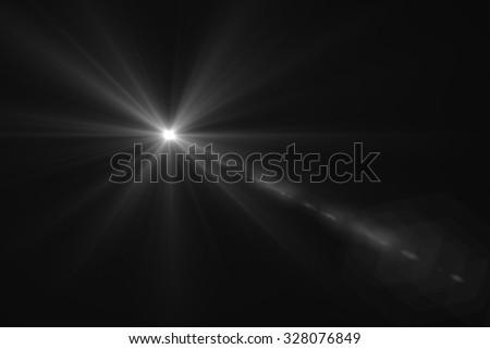 Muitl lris whit glint digital lens flare in black background horizontal frame warm - stock photo