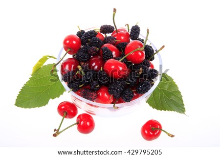 mulberries and cherry