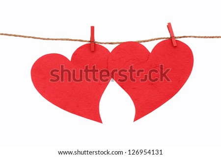 Mulberry paper  heart of red heart on white background.