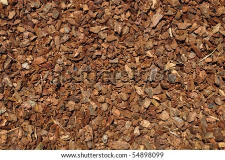 Mulch Red Wood Bark Background - stock photo