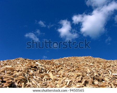 Mulch Wood Pieces And Blue Sky Background - stock photo