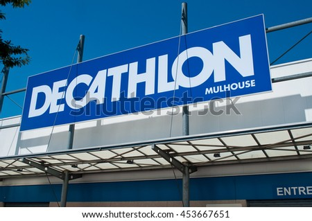 "MULHOUSE - France - 17 July 2016 - retail of the logo of the brand ""Decathlon"" signage - the french chain of Sports Supplies"