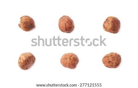 Mulitple single hazelnut nuts isolated over the white background, set of six images - stock photo