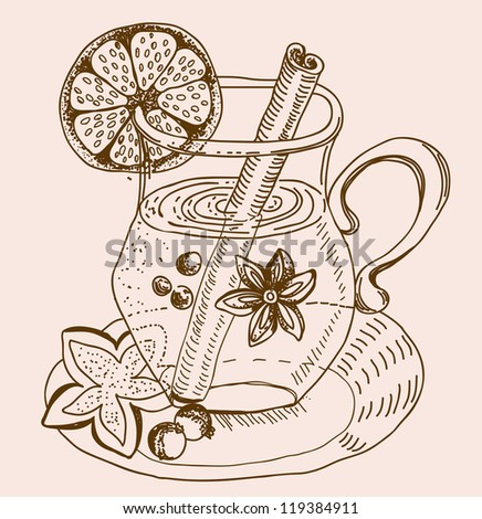 mulled warm wine background, illustration