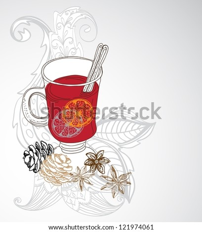 mulled warm wine background, illustration for design with floral elements - stock photo