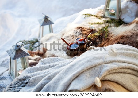 Mulled wine for two outdoors - stock photo