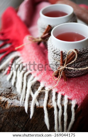 Mulled wine in mug with mug warmer - stock photo