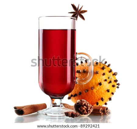 mulled wine in the glass, spice and orange isolated on white - stock photo