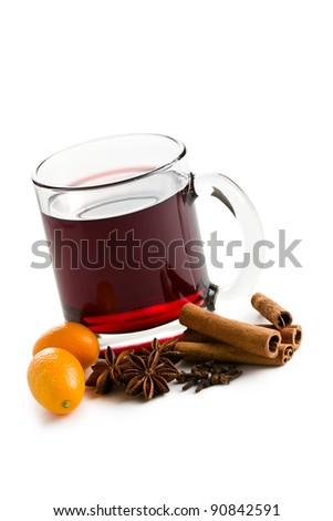 mulled wine on white background - stock photo