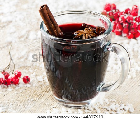 Mulled wine  .Selective focus - stock photo