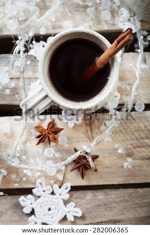 Mulled wine, traditional hot Christmas drink - stock photo