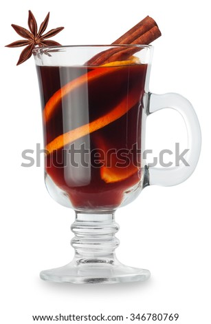 mulled wine with spices isolated on white background - stock photo